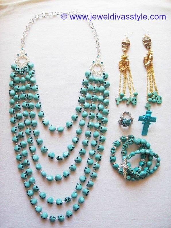 JDS - JEWEL DIVAS BLUE SKULL JEWELLERY SET - http://jeweldivasstyle.com/my-personal-collection-blue-jewellery-2/