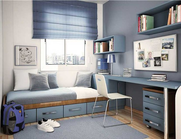 Teen boy bedroom with blue and white wall paint color use modern single bed with drawer storage equipped modern study desk with drawer and wall shelves design