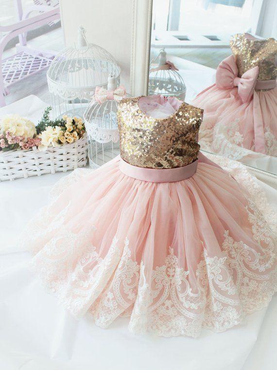 Birthday Dress For Babies Gold White Lace Dress Dress With Bow Dress For Girls Birthday Tutu Dr Kleider Zum Geburtstag Ballkleider Kinder Rosa Spitzenkleider