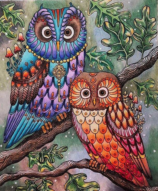 Finished This Mama And Papa Owl Today And Also Added Some Extra Leaves To Make It Look More Like A Forest D Coloring Book Art Owl Coloring Pages Abstract Owl