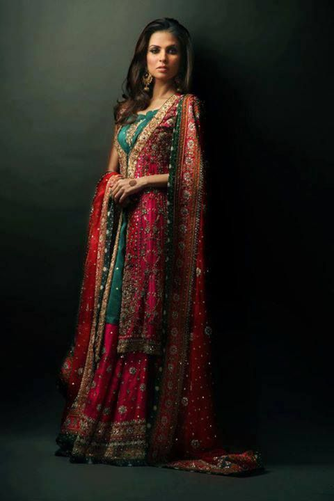 Ruby red and emerald green beaded Anarkali with matching Dupatta and a frontal clasped tunic by Pak Couture