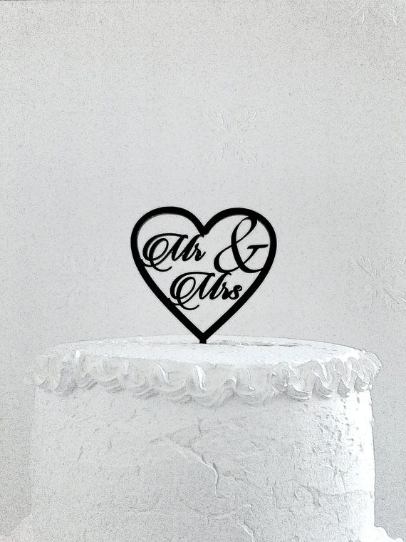 Mr & Mrs Cake Topper  Custom Wedding Cake Topper Romantic