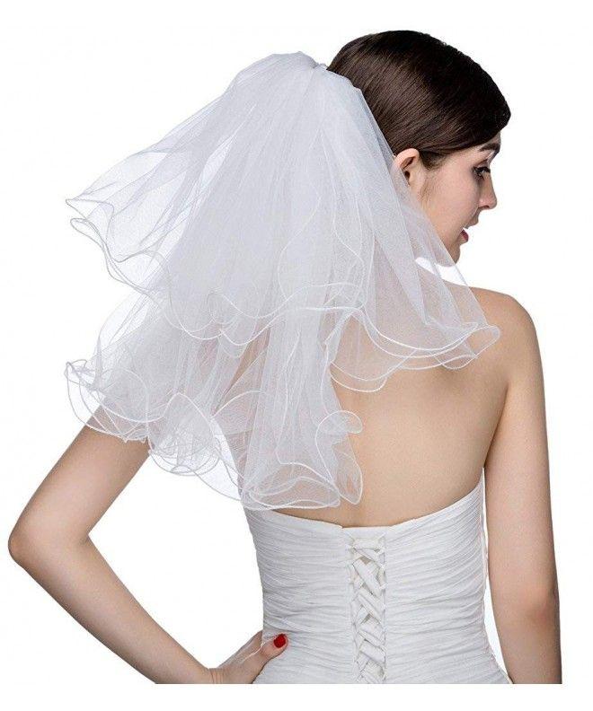 2 Tier 2 T Pencil Edge Fingertip Length Wedding Veil Long Bridal Veil With Comb