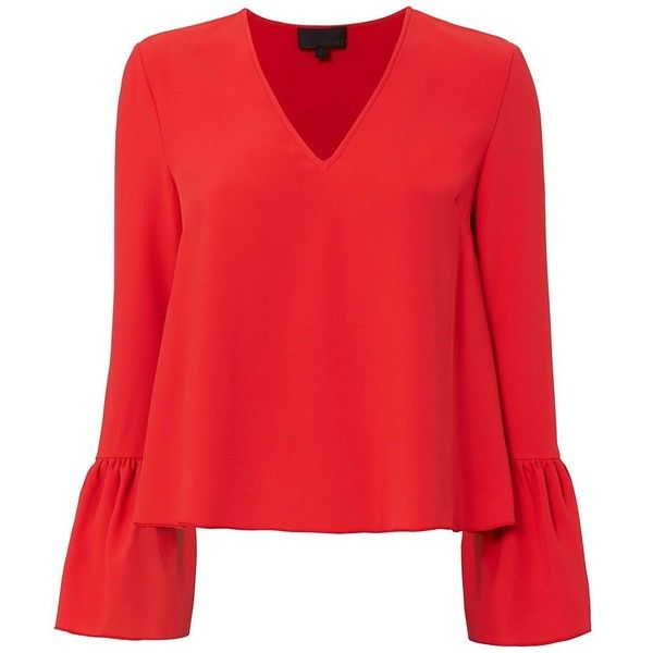 Intermix Women's Katie Bell Sleeve Blouse (£200) ❤ liked on Polyvore featuring tops, blouses, shirts, red, red shirt, red blouse, bell sleeve shirt, v neck long sleeve shirt and long sleeve pullover shirts