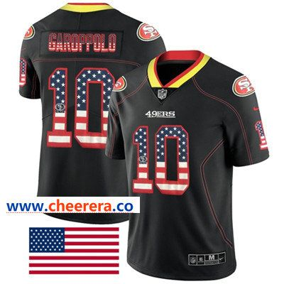 745cd7e5ee1 Nike San Francisco 49ers  10 Jimmy Garoppolo Black Men s Stitched NFL  Limited Rush USA Flag Jersey
