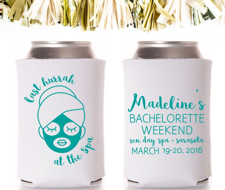 Spa Weekend Bachelorette Party Favors: Custom and Personalized Can Coolers // Mask Facial Spas by CoffeltDesigns on Etsy https://www.etsy.com/listing/242516663/spa-weekend-bachelorette-party-favors