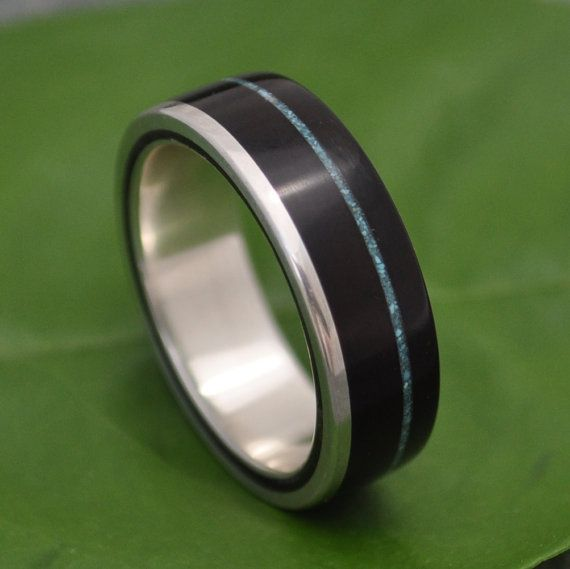 Turquoise Wood Ring,  Un Lado Asi - coyol seed with turquoise inlay and 100% recycled sterling silver. Ecofriendly wood wedding rings by naturalezanica http://www.naturalezanica.com