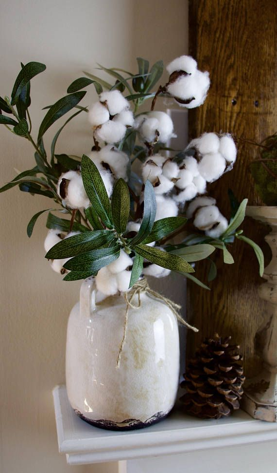 Farmhouse Decor Farmhouse Floral Arrangement Cotton Spring Table Decor Cotton Decor Branch Decor