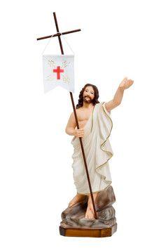 Gesù risorto cm. 35  altezza cm. 35 in resina dipinto con colori acrilici   http://www.ovunqueproteggimi.com/collezione-statue/ges%C3%B9/risorto/