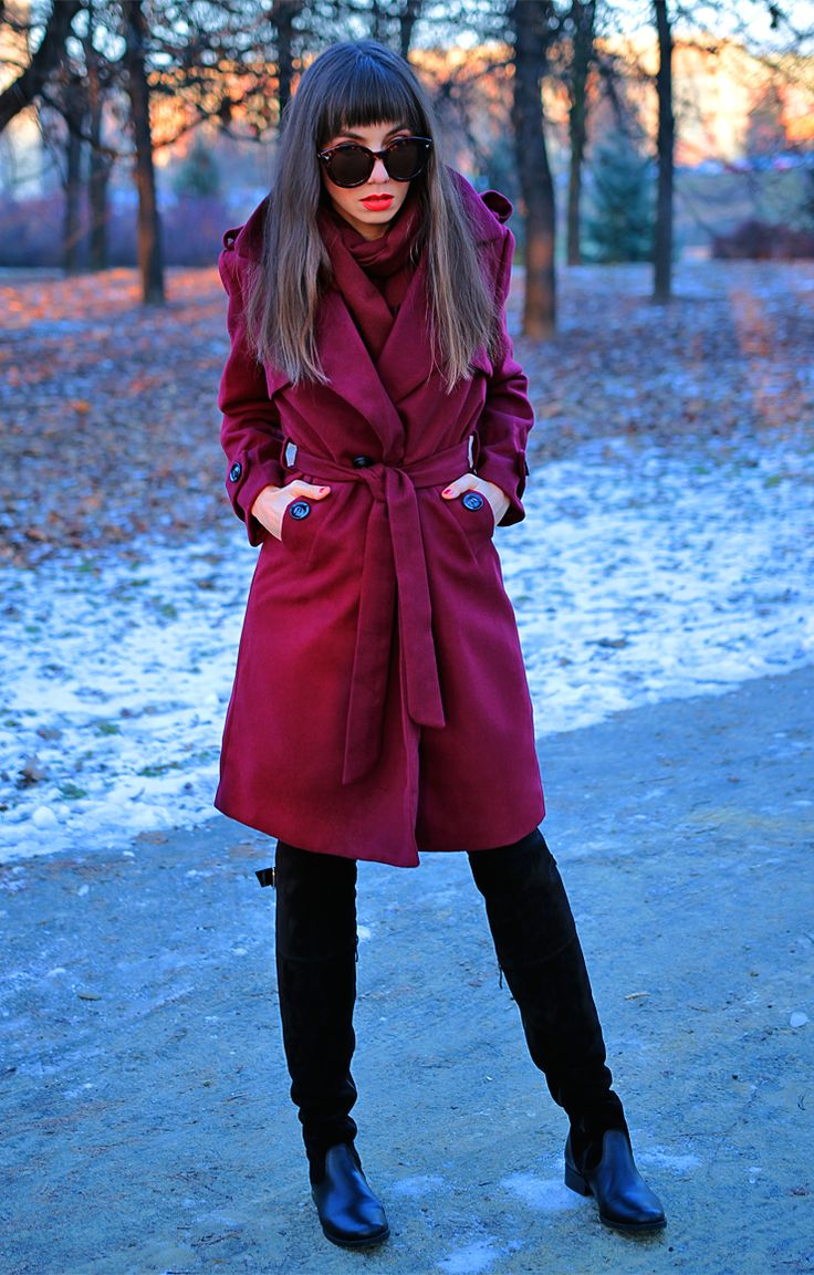 burgundy trench coat and over the knee boots: https://jointyicroissanty.blogspot.com/2016/12/burgundy-trench-coat.html  #streetstyle #ootd #fashion #fashionblogger #moda
