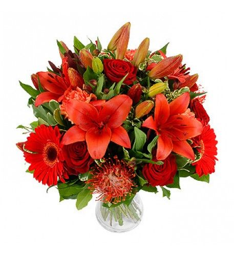 Red is the colour of love, and a loved-one will certainly love this arrangement of hot reds and oranges with asiatic liles, grand prix roses, red gerberas and sexy nutan.