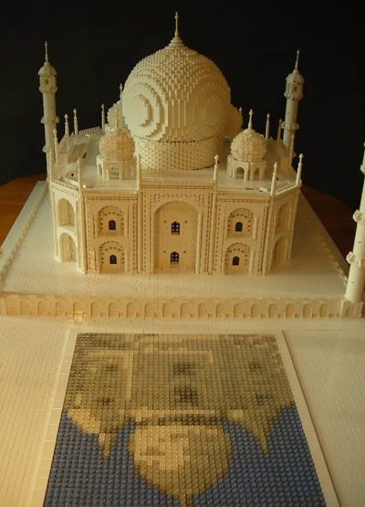 Lego Taj Mahal with reflecting pool