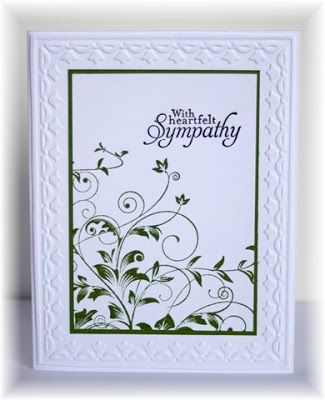 "By Becky (who CASE'd it from someone else). I just finished making 24 of these. Each takes less than 10 minutes to make. Uses the Hero Arts ""Leafy Vines"" stamp and the SU-Sizzix tulip border embossing folder."