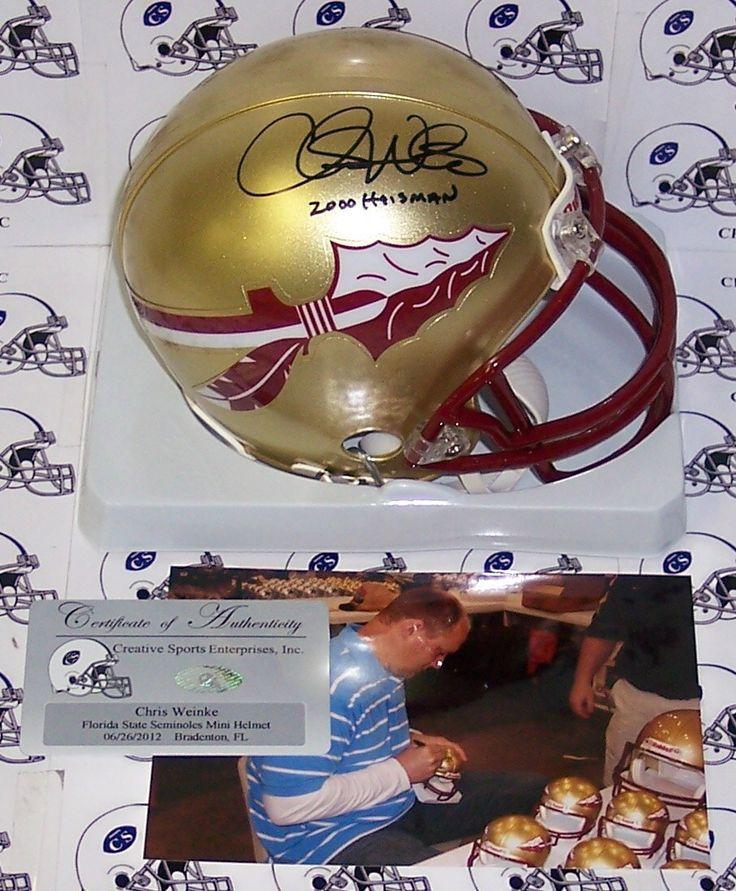 Chris Weinke Hand Signed Florida State Seminoles Mini Helmet