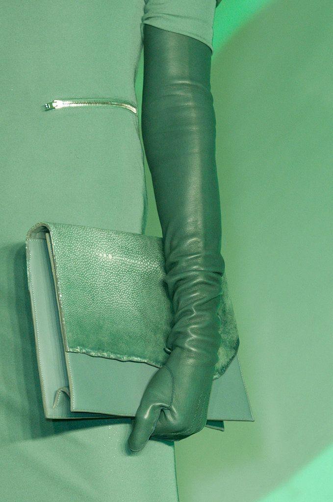 Green clutch at Jean Paul Gaultier Fall 2014 - Best Runway Bags Paris Fashion Week Bags #PFW