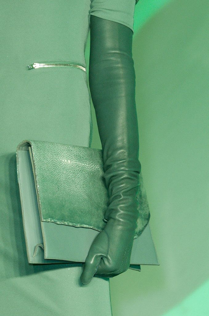 Green clutch at Jean Paul Gaultier Fall 2014 - Best Runway Bags Paris Fashion Week Bags #PFW