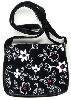 "Hand embroidered ""Clematis"" Shoulder Bag"