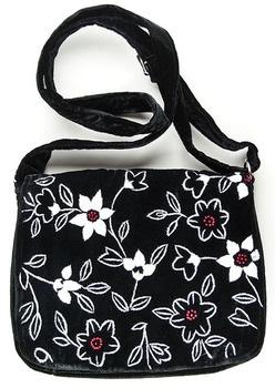"""Hand embroidered """"Clematis"""" Shoulder Bag"""