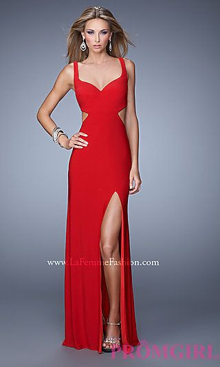 Open back, side slits with a sweetheart neckline - this dress is RED hot!