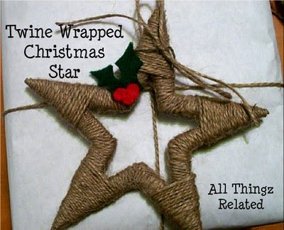 Twine Wrapped Star Ornament. Made with cardboard and twine - would look lovely wrapped with yarn too