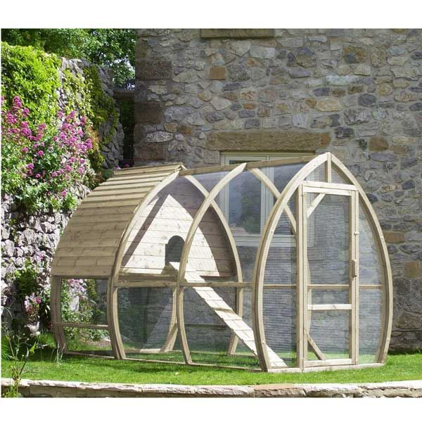 The Arch Chicken Coop is a beautifully shaped arched hen house and run with a modern unique design, suitable for up to 8 medium sized hens. It is a practical and easy to clean house, which is a pleasure to use and to look at. It has been designed by Framebow and made here in Dorset (England), in our own workshop, using only top quality pressure treated timbers from Scandinavian Redwood.  The Arched Coop has a number of great features including: * Slide Out Floor for easy cleaning and bedding…