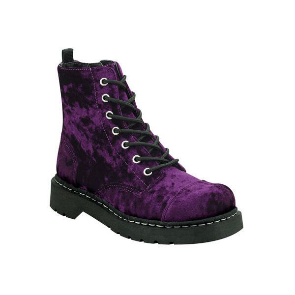 Women's T.U.K. Original Footwear Anarchic Vegan Combat Boot ($72) ❤ liked on Polyvore featuring shoes, boots, combat boots, purple, combat booties, army boots, faux-leather boots and lace-up boots