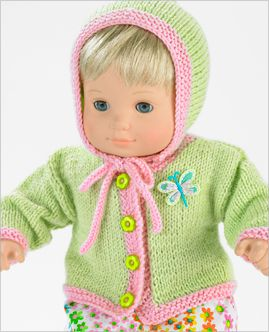 """Free knitting for 15"""" doll cardigan and accessories (followed by crochet version!)"""