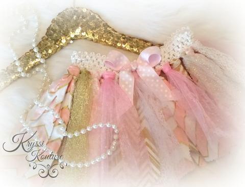 Pink & Gold Baby Girl Rag Tutu - First Birthday Tutu - Gold Tutu - Special Occasion