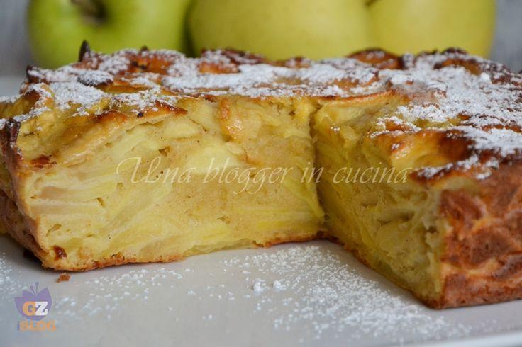 torta fondente di mele INGREDIENTI   1 Kg di mele golden (circa 4 mele medie)  3 uova  150 g di farina 00  125 g di zucchero semolato  100 g di ricotta vaccina  8 g di lievito in polvere per dolci  1 cucchiaio raso di cannella in polvere  Il succo di mezzo limone  Zucchero a velo per la superficie