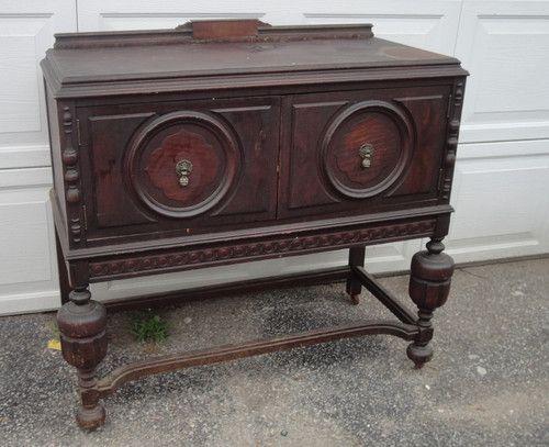 Delightful Antique Server Sideboard Wood Cabinet W/ Pineapple Style Legs Tiger Wood  Originl Find Me At Www.dandeepop.com #server #sideboard #dandeepop    Pinterest