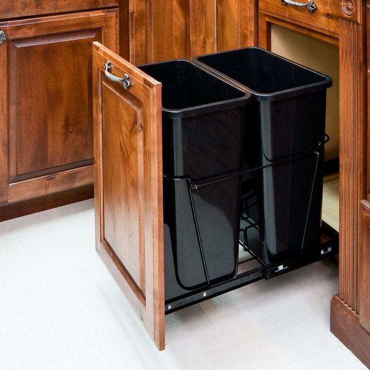 35-Quart Double Pull-Out Waste Container System/2 Cans Included & Doorkit
