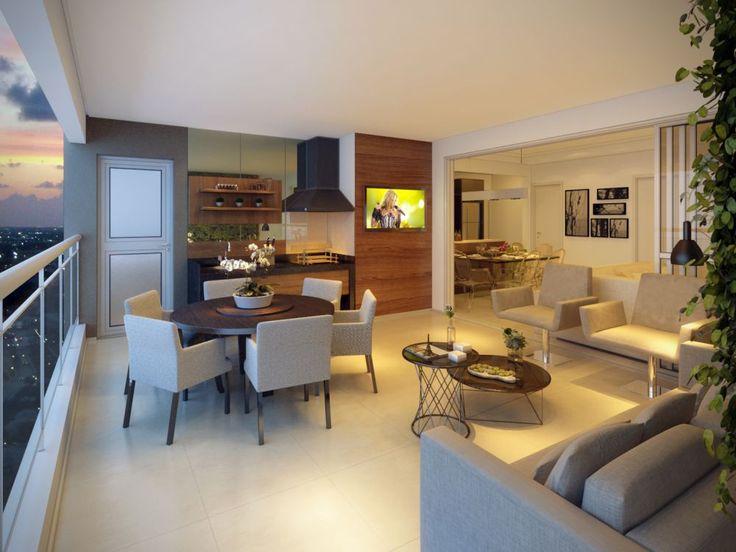 apartamento com  churrasqueira e sala integrados na  varanda