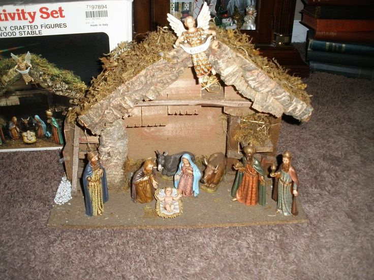 Vtg Sears Nativity Pc Wooden Creche Manger Le Landi Made In Italy