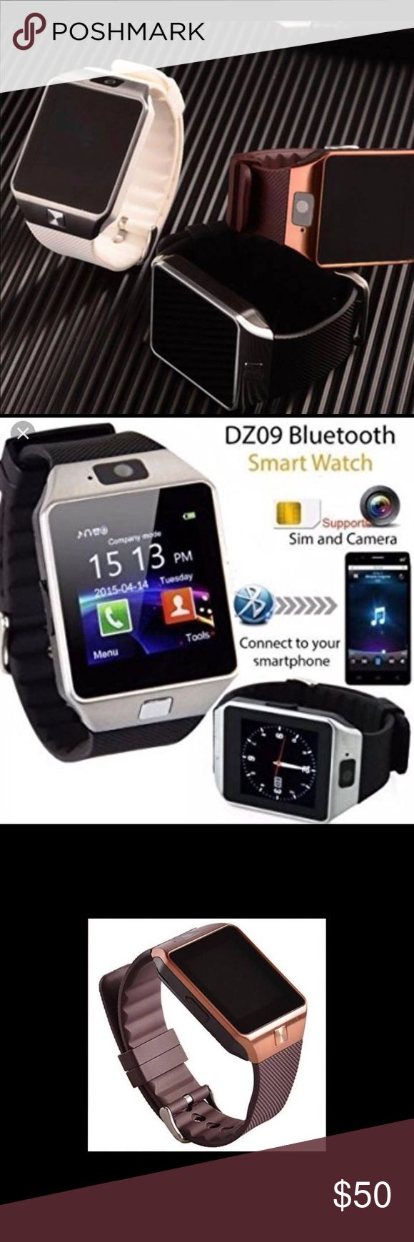Smart watch with camera and Bluetooth Available in white with silver, Black with silver, brown with gold.  •Messaging •Bluetooth •Calling / Sim Card Ready •Remote Notifier•MP3•Calculator •Pedometer •Sleep Monitor  •Reminder •QR Code•Calendar•Alarm•Image Viewer •Sound Recorder•Camera•File Manager•Browser •Facebook•Twitter DZ09 Accessories Watches
