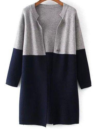 Grey Navy Long Sleeve Loose Knit Cardigan