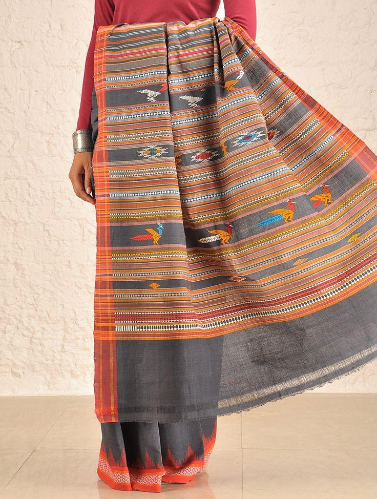 Buy Grey Bomkai Cotton Saree Online at Jaypore.com