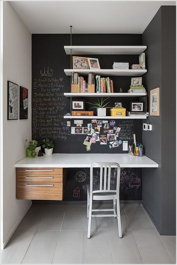 Nice chalkboard wall, and space all-together is neatly done.