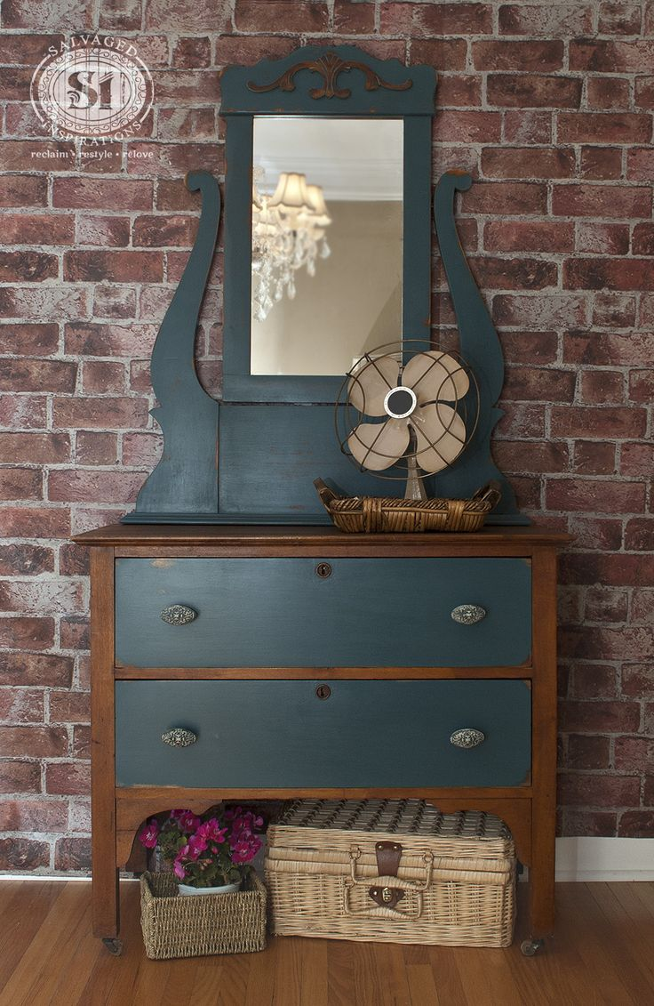 Amazing Little Vintage Dresser With Mirror! Restyled In #Fusion Mineral  Paint (Homestead Blue