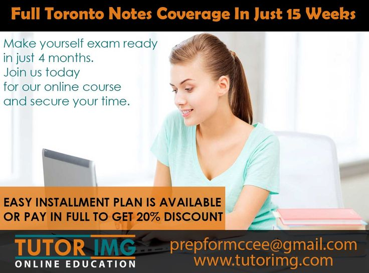 Full Toronto notes coverage in just 15 weeks and make yourself exam ready in just 4 months. Join us today for our online course and secure you time. EASY INSTALLMENT PLAN IS AVAILABLE OR PAY IN FULL TO GET 20% DISCOUNT Inbox us for details Contact us @ prepformccee@gmail.com