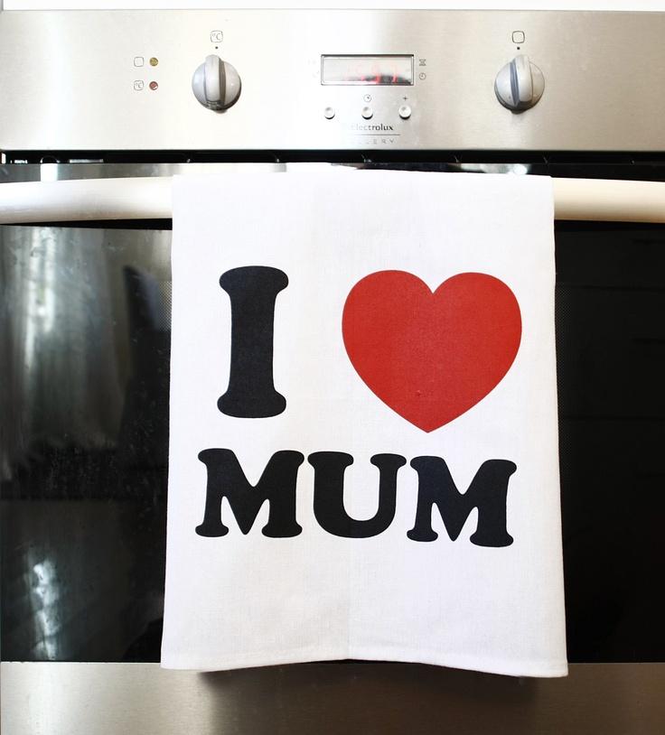 I Heart Mum Tea towel