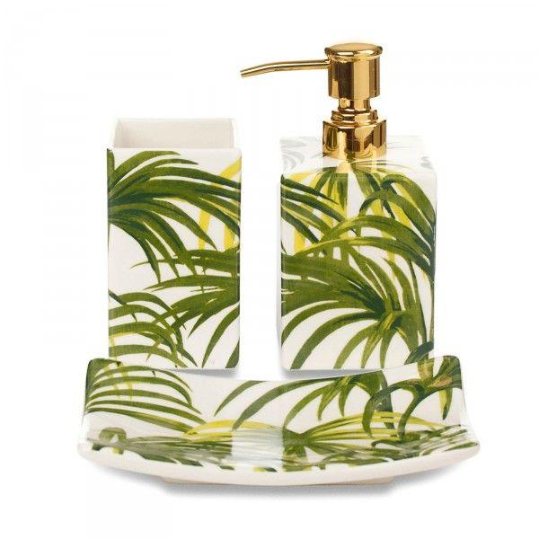 PALMERAL Bath Ceramic Gift Set - White / Green