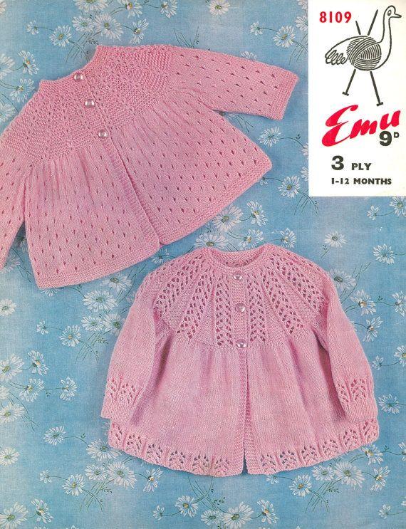 baby matinee coat set vintage knitting pattern PDF instant download