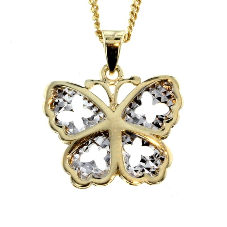 Buy our Australian made Two-Tone Gold Butterfly Pendant - PND-017 online. Explore our range of custom made chain jewellery, rings, pendants, earrings and charms.