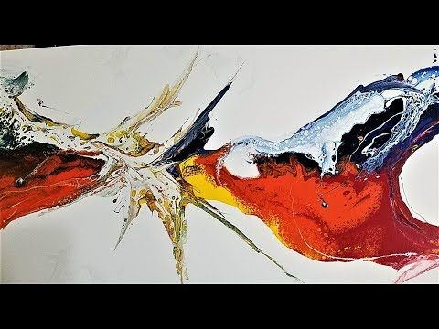 Make a big picture with liquid acrylic paints. NO BRUSH USED – YouTube