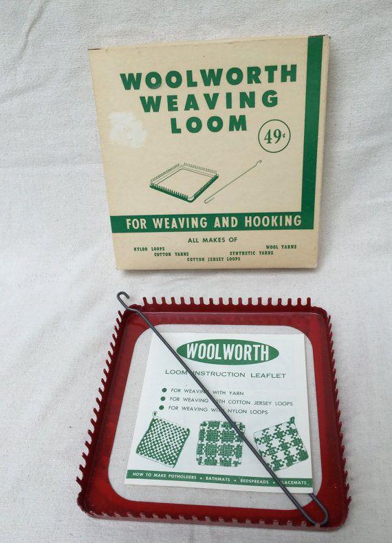 SOLD  Vintage Woolworth Weaving Loom, Child's Loom, Potholder Maker, Hot Pad, Yarn Jersey Loops Loom Instruction Leaflet 1950's, Metal Loom