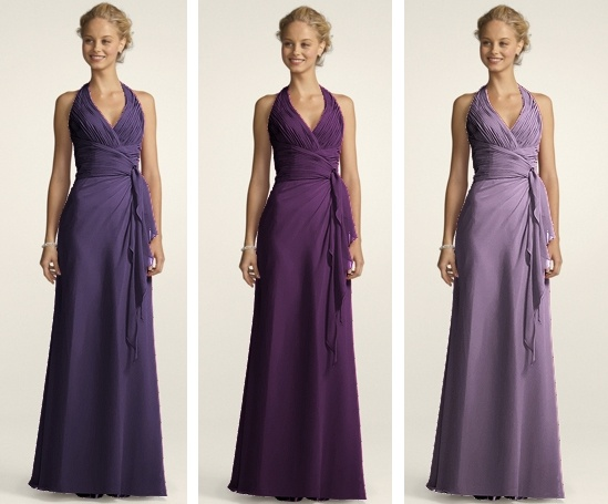 Bridesmaid Dresses From David S Bridal Soft Crinkle Chiffon Halter With D Cascade Style F12688 In Colours Lapis Plum And Wister