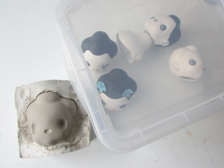 Mori doll heads white clay