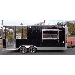 New 8.5 x 20' Black Food Event Catering BBQ Smoker / Concession Trailer | 17897 w/ appl | $20,704.00