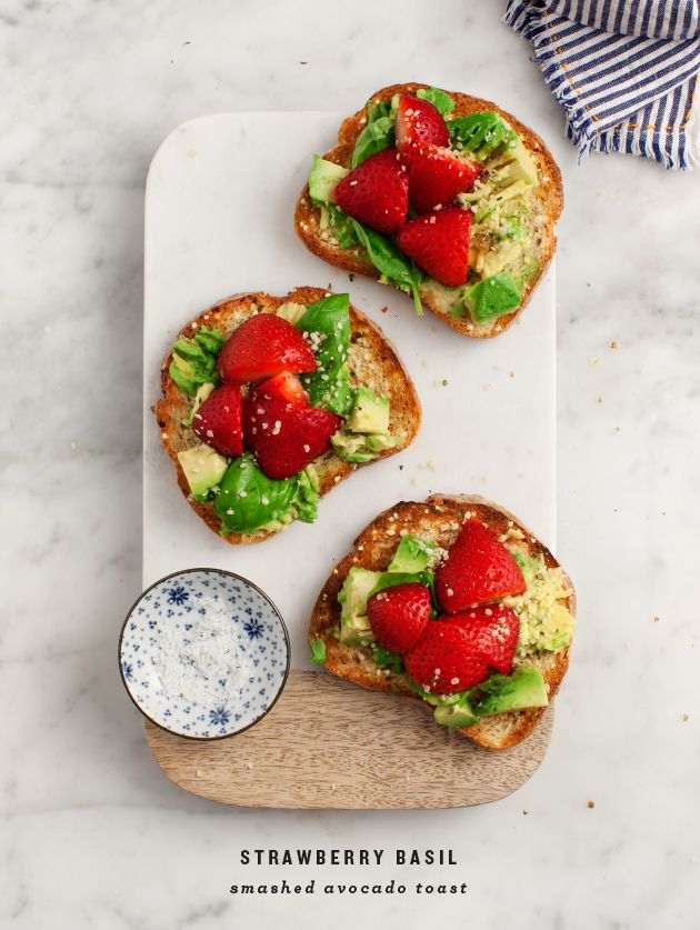 Strawberry Basil Smashed Avocado Toast / loveandlemons.com