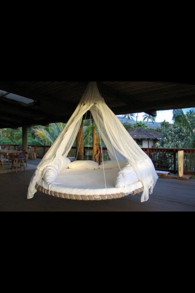 100 best images about outdoor porch bed ideas on pinterest for Outdoor hanging bed swing